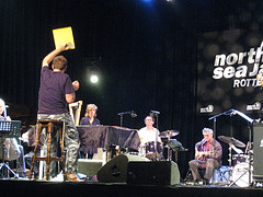 John Zorn - holding up cue card during the Northsea Jazz Fest